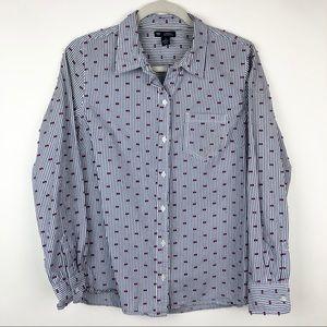 GAP Boyfriend Fit Blue Striped Button Down Shirt